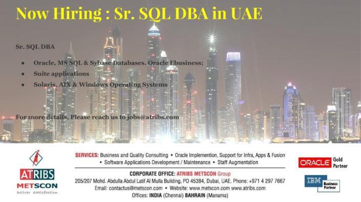 Sr. SQL DBA
