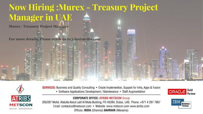 Murex - Treasury Project Manager