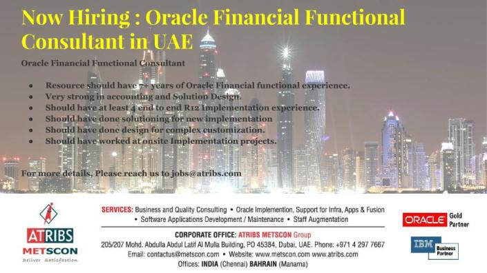 Oracle Financial Functional Consultant