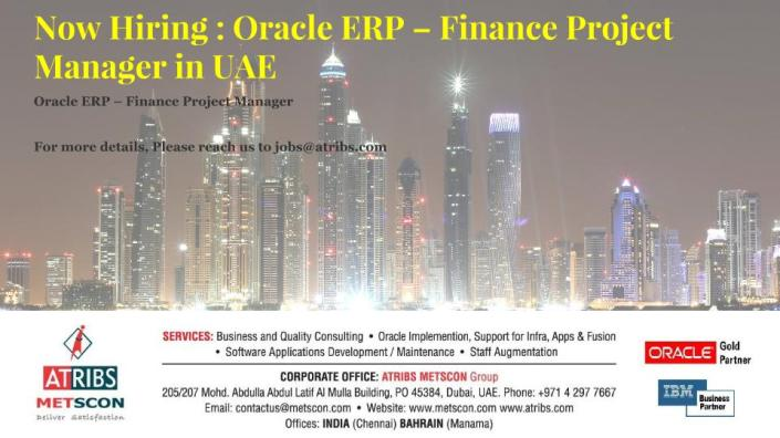 Oracle ERP – Finance Project Manager