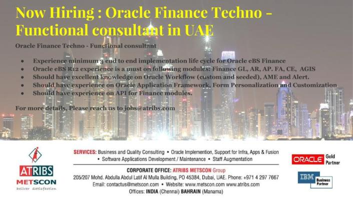 Oracle Finance Techno - Functional consultant