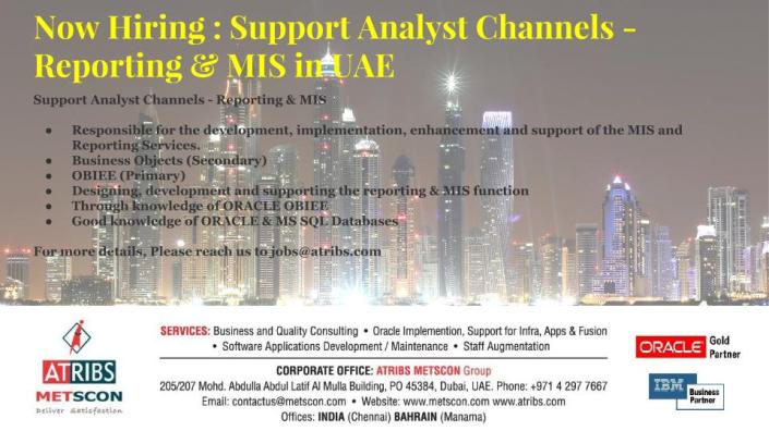 Support Analyst Channels - Reporting & MIS
