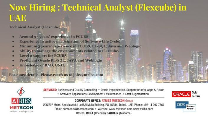 Technical Analyst (Flexcube)