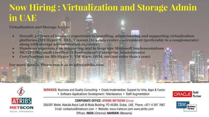 Virtualization and Storage Admin