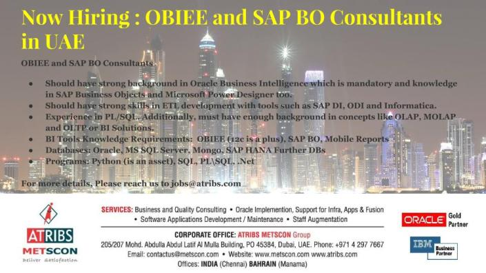 OBIEE and SAP BO Consultants