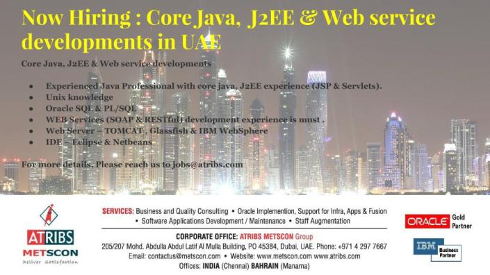 Core Java, J2EE & Web service developments
