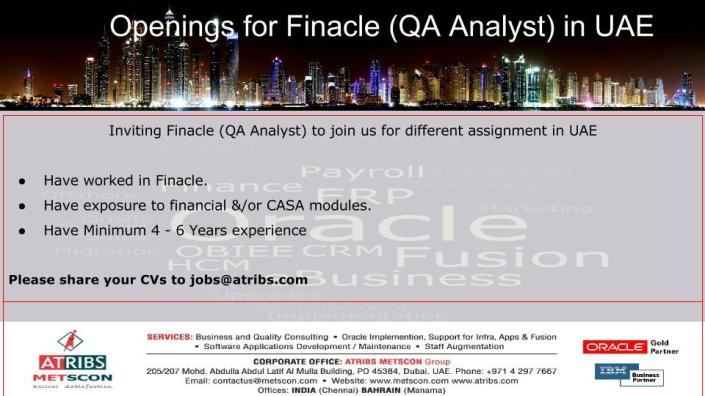 Finacle (QA Analyst)