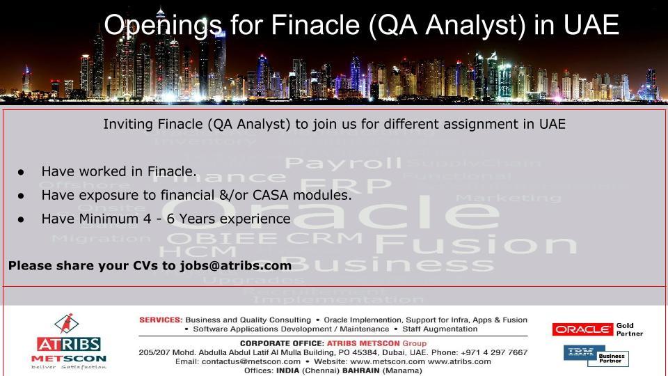 Finacle (QA Analyst) « ATRIBS - Career Page