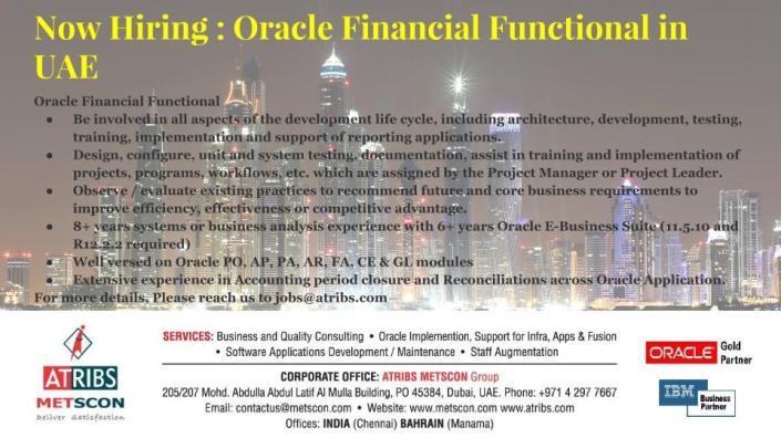 Oracle Financial Functional