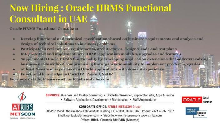 Oracle HRMS Functional Consultant