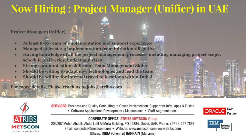 Project Manager (Unifier) « ATRIBS - Career Page