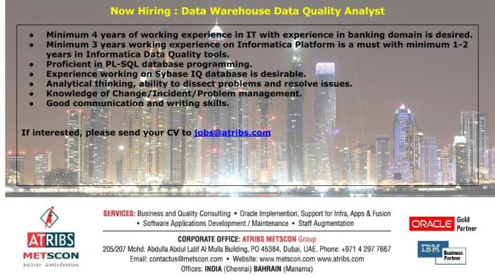 Data Warehouse Data Quality Analyst