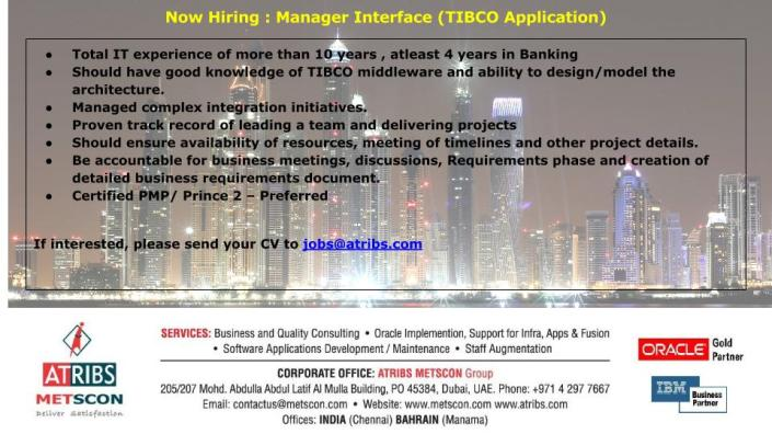 Manager Interface (TIBCO Application)