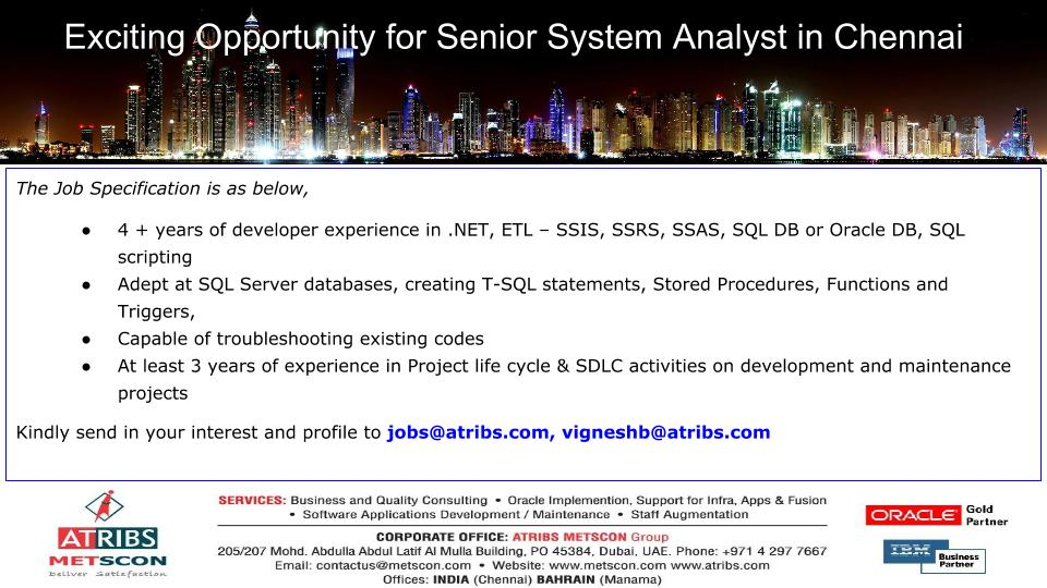 Senior System Analyst « ATRIBS - Career Page
