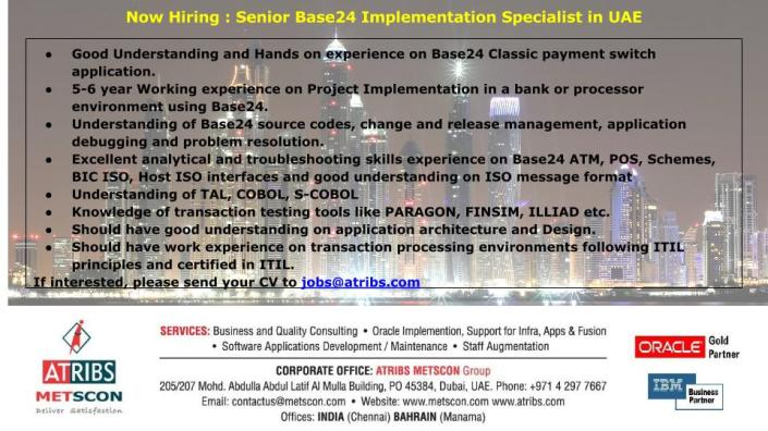 Senior Base24 Implementation Specialist in UAE