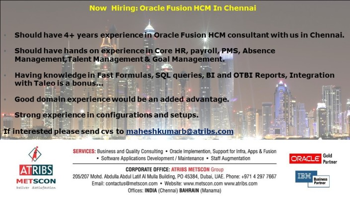 ATRIBS Looking for Oracle HCM Fusion @ Chennai « ATRIBS - Career Page