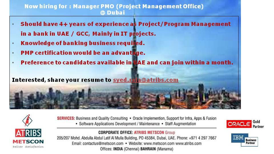 Excellent Opening For The Position Of Manager Pmo Project