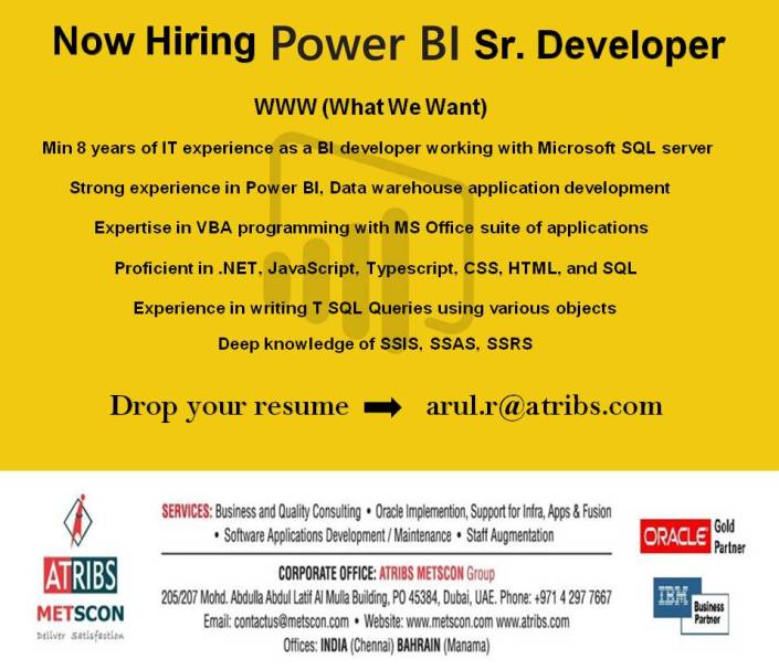 here is the chance to explore yourself over the seas get ready power bi professionals job type long term job location dubai drop your cv to - Power Bi Resume