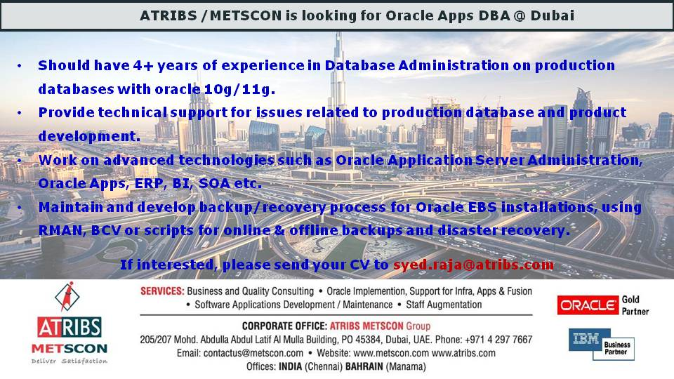 Oracle APPS DBA | ATRIBS - Career Page