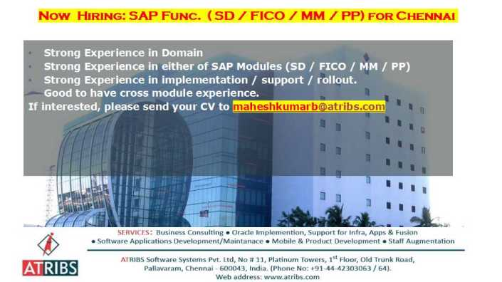 SAP Functional Consultants – Across Modules @ Chennai
